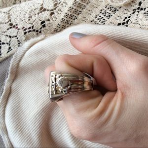Vintage Accessories - USMC Military Ring Sterling Onyx Stone